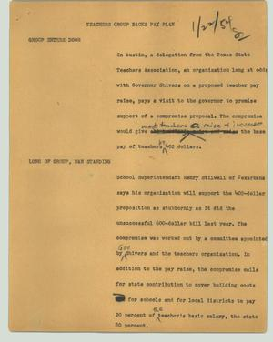 Primary view of object titled '[News Script: Teachers group backs pay plan]'.