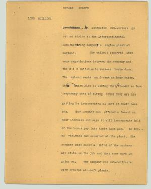 Primary view of object titled '[News Script: Strike briefs]'.
