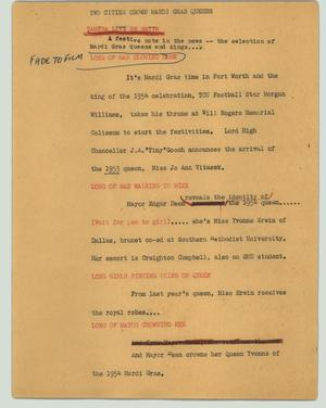 Primary view of object titled '[News Script: Two cities crown Mardi Gras queens]'.