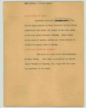 Primary view of object titled '[News Script: Prairie Queen contest]'.