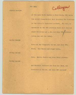 Primary view of object titled '[News Script: TCU ball]'.