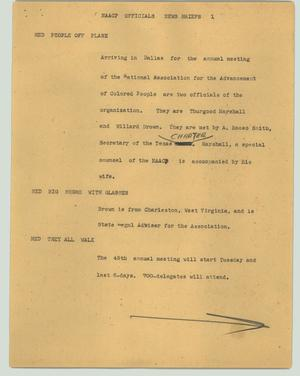 Primary view of object titled '[News Script: NAACP officials]'.