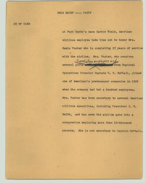 Primary view of object titled '[News Script: News brief - Party]'.
