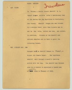 Primary view of object titled '[News Script: Blind sheriff]'.
