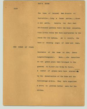 Primary view of object titled '[News Script: Sam's house]'.