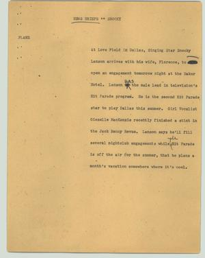 Primary view of object titled '[News Script: News Briefs - Snooky]'.