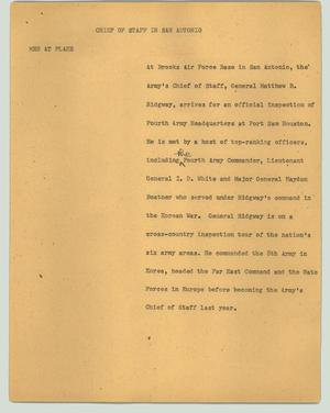 Primary view of object titled '[News Script: Chief of staff in San Antonio]'.