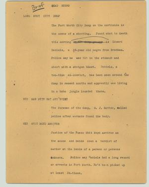 Primary view of object titled '[News Script: Dead negro]'.