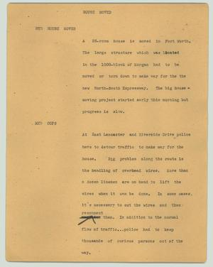 Primary view of object titled '[News Script: House moved]'.