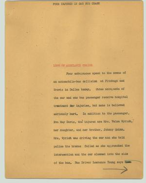 Primary view of object titled '[News Script: Four injured in car bus crash]'.