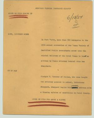 Primary view of object titled '[News Script: Sheppard pledges insurance cleanup]'.