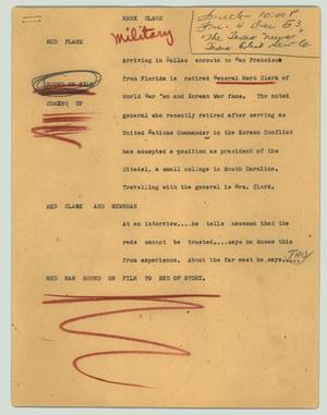 Primary view of object titled '[News Script: Mark Clark]'.