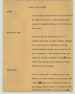 Primary view of object titled '[News Script: Double truck accident]'.