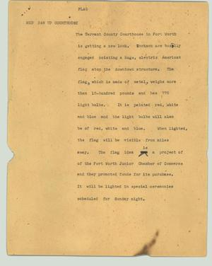 Primary view of object titled '[News Script: Flag]'.