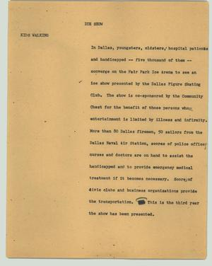 Primary view of object titled '[News Script: Ice show]'.