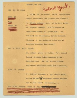 Primary view of object titled '[News Script: Andrews tax man]'.