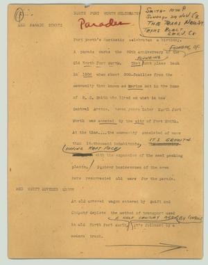 Primary view of object titled '[News Script: North Fort Worth celebrates]'.