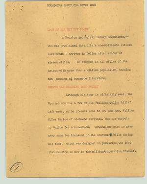 Primary view of object titled '[News Script: Houston's envoy completes tour]'.