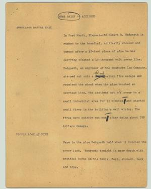 Primary view of object titled '[News Script: News Brief - Accident]'.