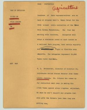 Primary view of object titled '[News Script: Farm convention]'.