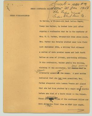 Primary view of object titled '[News Script: Negro confesses Dallas slaying]'.