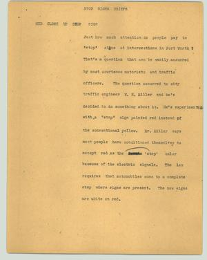 Primary view of object titled '[News Script: Stop signs briefs]'.