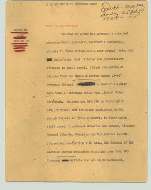 Primary view of object titled '[News Script: J im Wright wins Congress seat]'.