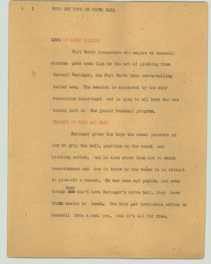 Primary view of object titled '[News Script: Boys get tips on curve ball]'.