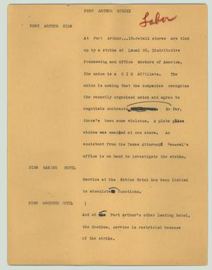 Primary view of object titled '[News Script: Port Arthur strike]'.