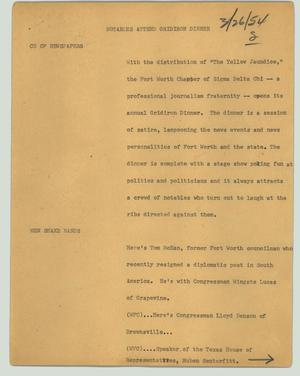 Primary view of object titled '[News Script: Notables attend gridiron dinner]'.