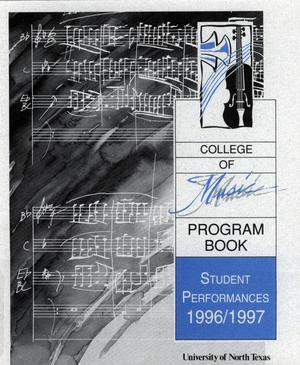 Primary view of object titled 'College of Music program book 1996-1997 Student Performances Vol. 2'.