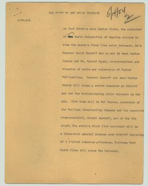 Primary view of object titled '[News Script: RCA chief to see color telecast]'.