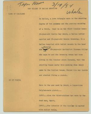 Primary view of object titled '[News Script: Two killed in Dallas shooting]'.
