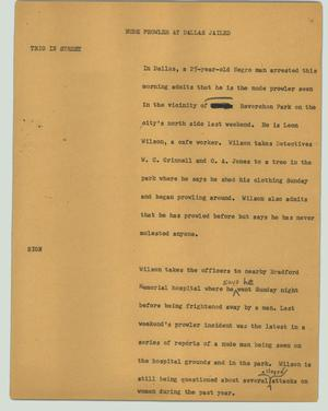 Primary view of object titled '[News Script: Nude prowler at Dallas jailed]'.