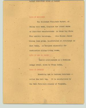 Primary view of object titled '[News Script: Latest furniture shown at market]'.