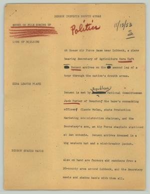 Primary view of object titled '[News Script: Benson inspects drouth areas]'.