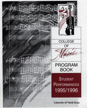 Primary view of object titled 'College of Music program book 1995-1996 Student Performances Vol. 2'.