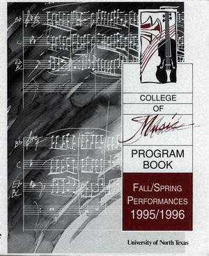 Primary view of object titled 'College of Music program book 1995-1996 Fall/Spring Performances Vol. 1'.