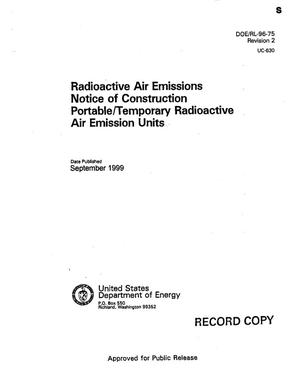 Primary view of object titled 'Radioactive air emissions notice of construction portable temporary radioactive air emission units - August 1998'.