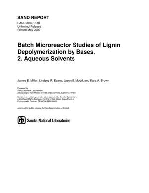 Primary view of object titled 'Batch Microreactor Studies of Lignin Depolymerization by Bases. 2. Aqueous Solvents'.