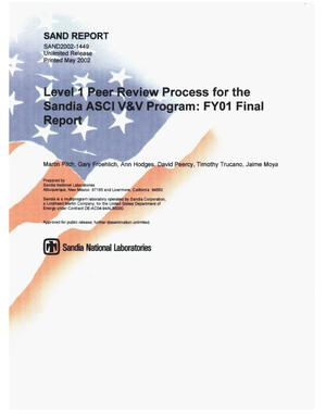Primary view of object titled 'Level 1 Peer Review Process for the Sandia ASCI V and V Program: FY01 Final Report'.