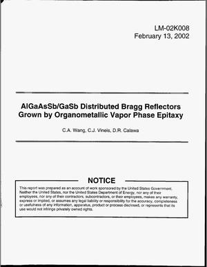Primary view of object titled 'AlGaAsSb/GaSb Distributed Bragg Reflectors Grown by Organometallic Vapor Phase Epitaxy'.