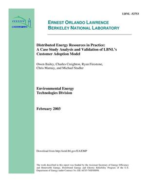 Primary view of object titled 'Distributed energy resources in practice: A case study analysis and validation of LBNL's customer adoption model'.