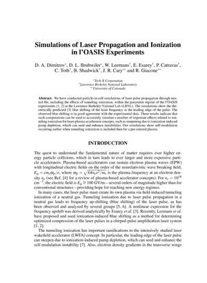 Primary view of object titled 'Simulations of laser propagation and ionization in l'OASIS experiments'.
