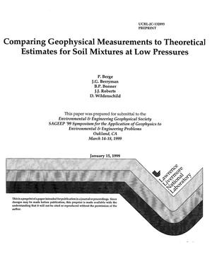Primary view of object titled 'Comparing geophysical measurements to theoretical estimates for soil mixtures at low pressures'.