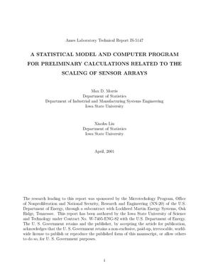 Primary view of object titled 'A Statistical Model and Computer program for Preliminary Calculations Related to the Scaling of Sensor Arrays'.