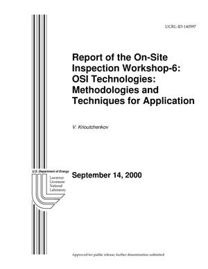 Primary view of object titled 'Inspection Workshop-6: OSI Technologies: Methodologies and Techniques for Application'.
