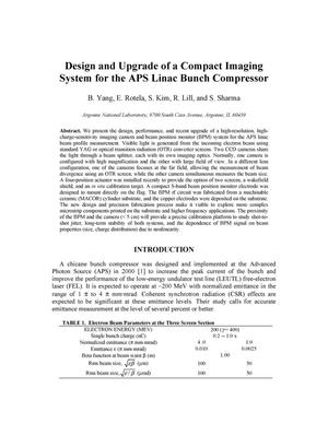 Primary view of object titled 'Design and upgrade of a compact imaging system for the APS linac bunch compressor.'.
