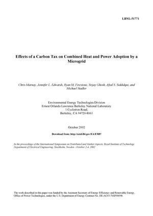 Primary view of object titled 'Effects of a carbon tax on combined heat and power adoption by a microgrid'.