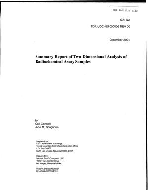 Primary view of object titled 'Summary Report of two-Dimensional Analysis of Radiochemical Assay Samples'.